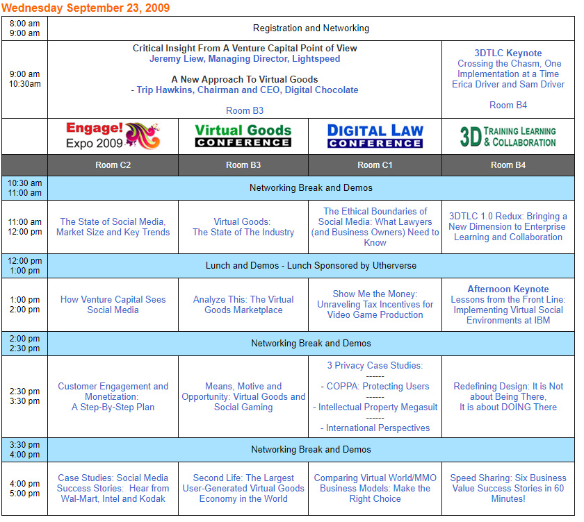 Conference Program San Jose 2009 Schedule
